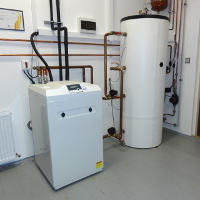 indoor unit of Sinclair S-Therm+ heat pump with combined tank of hot and heating water